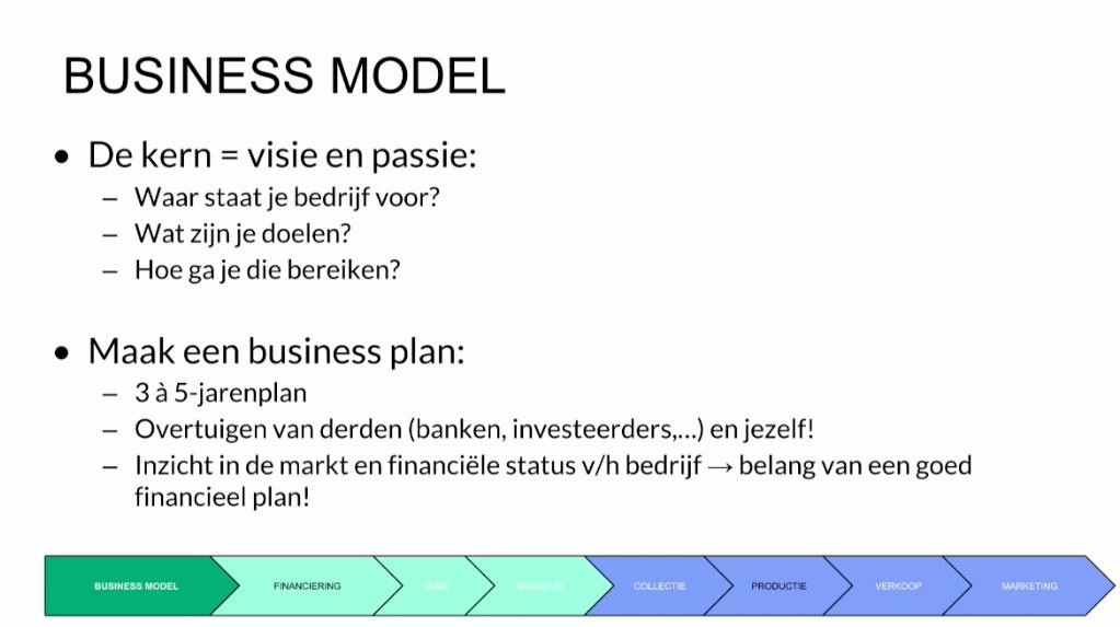 Bekijk het fragment uit 'Starten in de mode' rond businessmodel