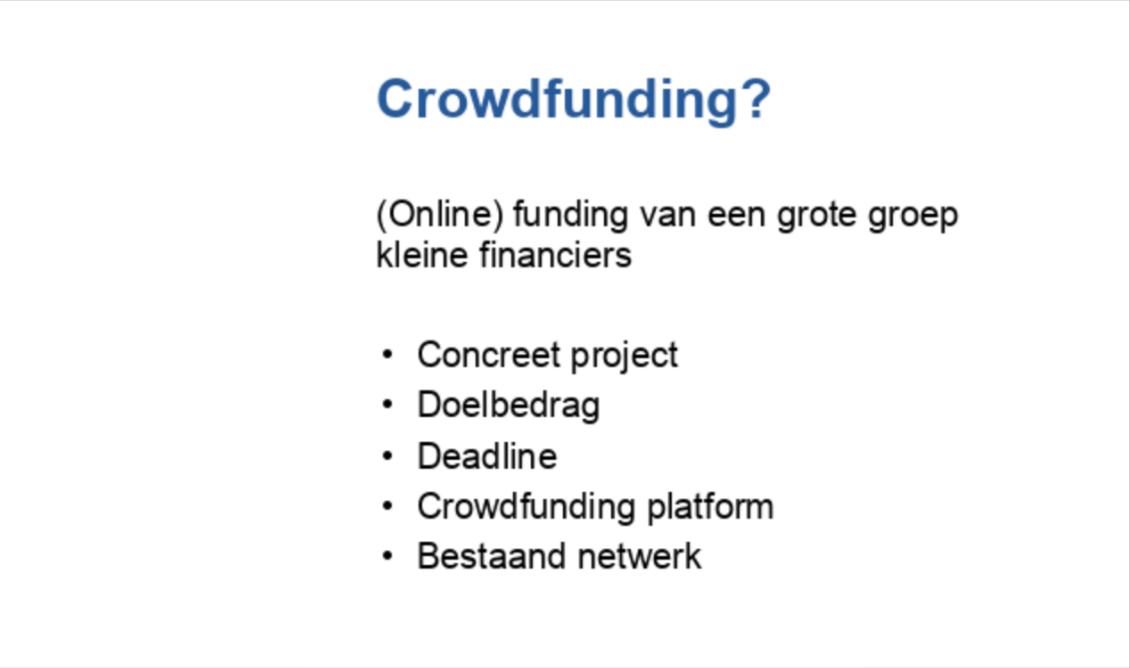 Crowdfunding: de basis
