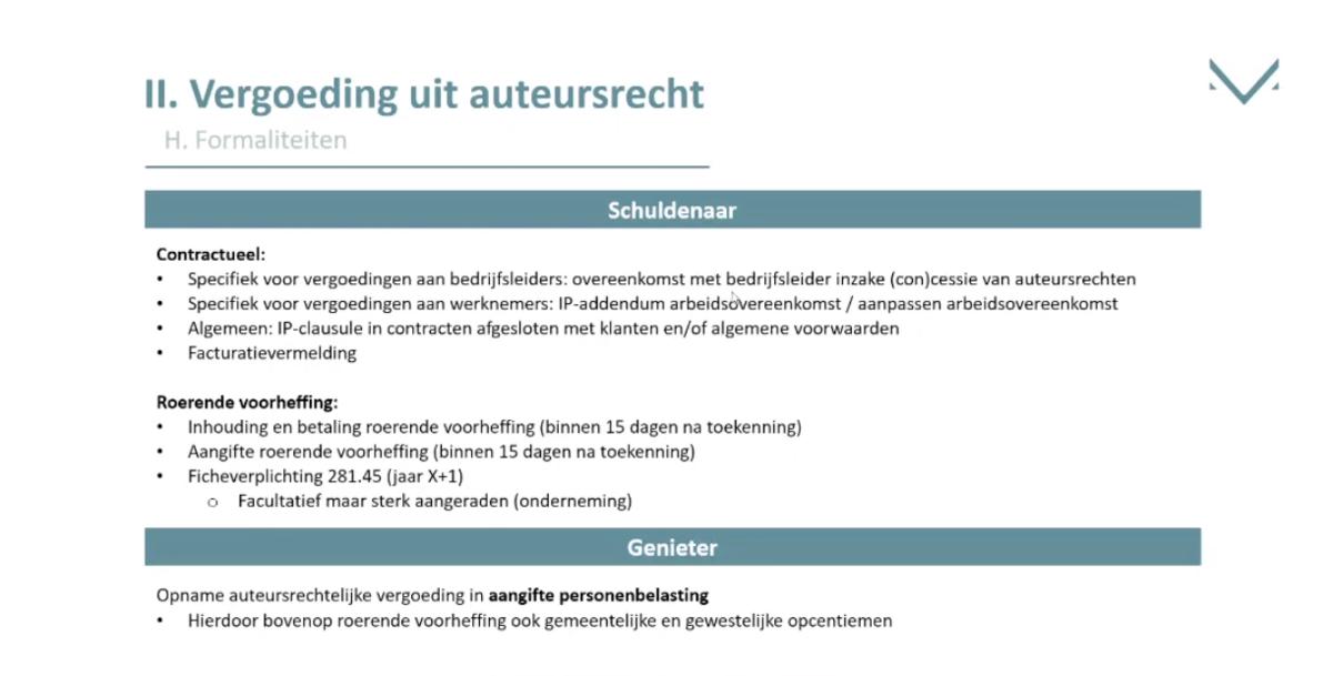 Auteursrechten en fiscale optimalisatie: formaliteiten