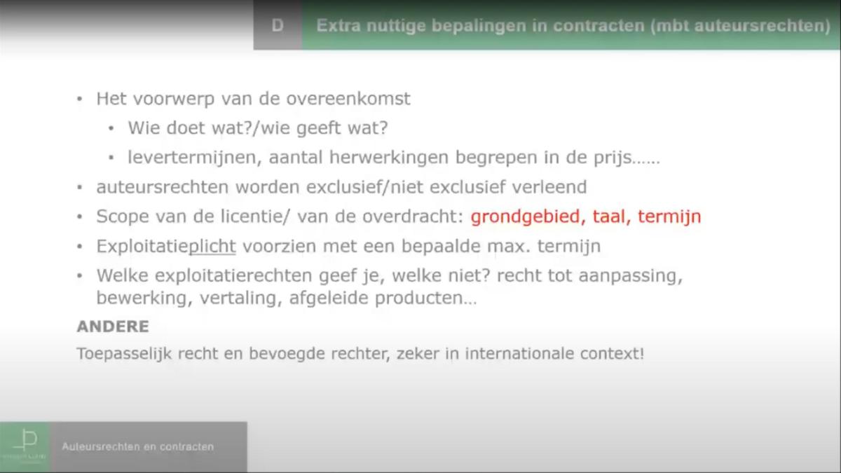 Auteursrechten, licentie en overdracht: opstellen en goedkeuren contract auteursrechten