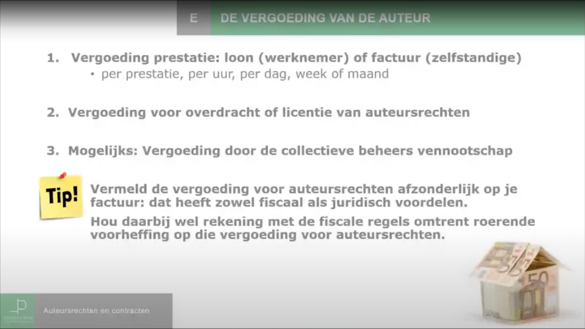 Auteursrechten, licentie en overdracht: vergoeding auteursrechten
