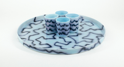 Tray blue pizza, Frizbee Ceramics